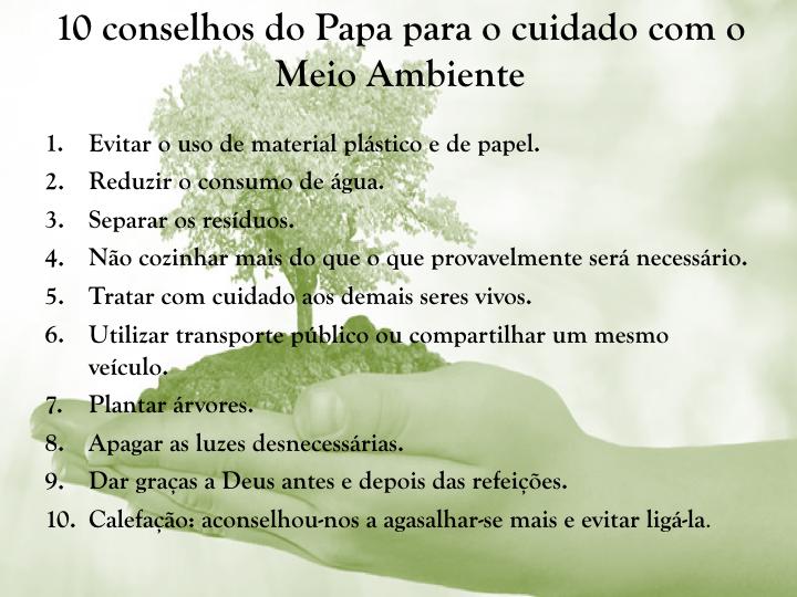 10 conselhos do Papa para o cuidado com.001
